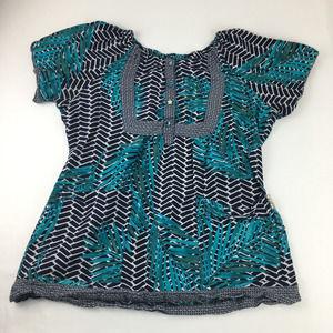 Koi Teal Blue Leaf Print 149PR Bella Scrub Top L